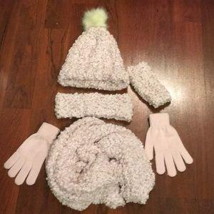 Soft Fluffy Pink Light Bling Hat Scarf Gloves Band
